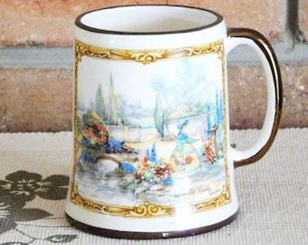 Sandland Ware Hanley England 'In an Old World Garden' 1940s Staffordshire porcelain tankard, mug