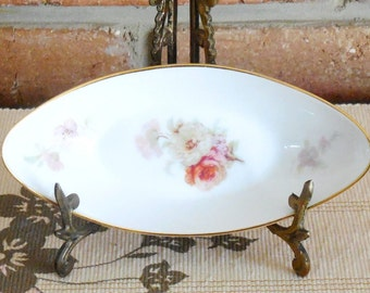 Furstenberg early 1990s porcelain pin, sweets, butter pat dish, floral detail, high tea