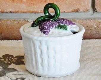 Portuguese vintage 1960s majolica mid century sugar bowl, stylised basket, vine and grape detail, kitchenalia