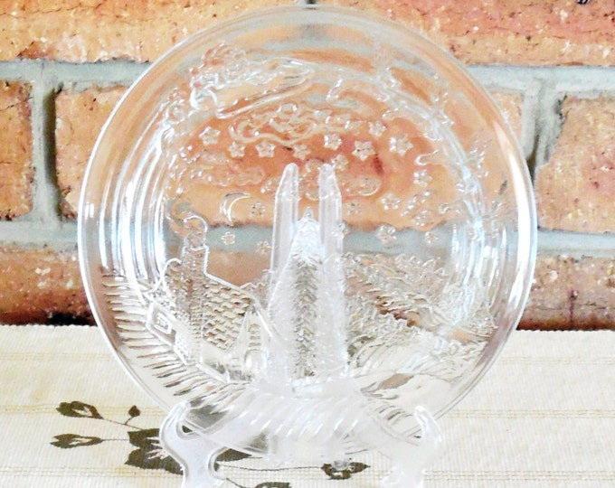 Featured listing image: Crystal Clear vintage Christmas glass cake cookies or titbits serving plate ideal gift