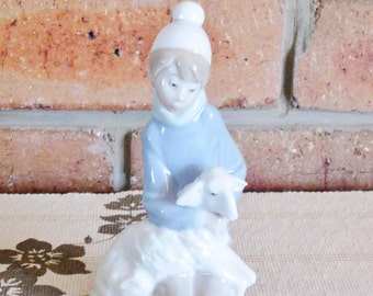 Lladro #4676 Shepherd Boy with Lamb Children's Nativity  porcelain figurine issued 1974 made in Spain