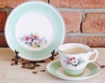 George Clews 1940s Staffordshire floral china trio