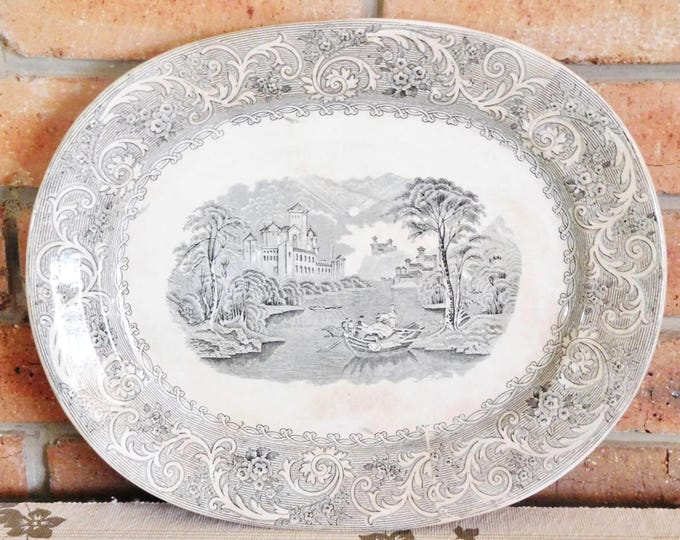 Featured listing image: Alfred Fenton & Sons Rhine mid 1800s English transfer printed serving platter, roast, Christmas ham, turkey