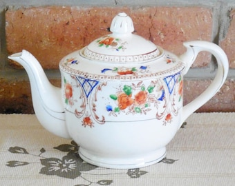 Japanese mid century Imari style fine china teapot backstamp 'Trade Mark Made in Japan'