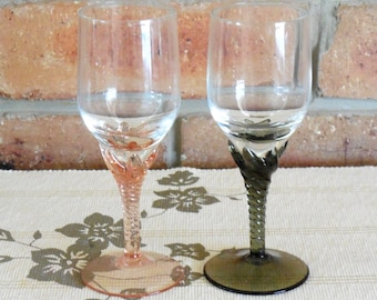 1970s toasting wine, sherry, port glasses clear bowl, pink, green swirl stems