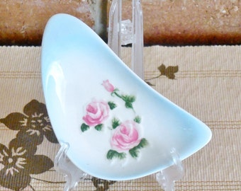 Japanese porcelain freeform shape pin or butter dish blue with pink roses 1960s
