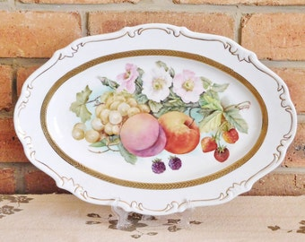 Reichenbach Germany fine china serving platter transfer print fruit motif vintage early 1980s