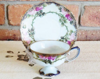 Japanese antique eggshell porcelain early 1900s handpainted and gilded teacup saucer duo I E & C, high tea