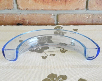 Made in England vintage 1960s blue glass semi circle squat flower holder vase, unusual, gift idea