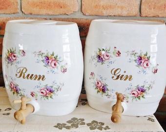 Edwardian English porcelain ceramic barrel Rum and Gin liquor dispensers, barware, breweriana, movie prop, TV prop