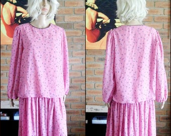 Norman Hartnell vintage 1980s drop waist 'Easy Care' pink dress size 16