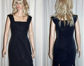 Covers fully lined black designer dress, size 10, vintage 1990s, movie prop, TV prop, costume