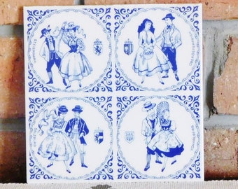 Italian ceramic decorative blue and white wall tile by Ceramiche Dekor, Austrian theme, vintage 1980s