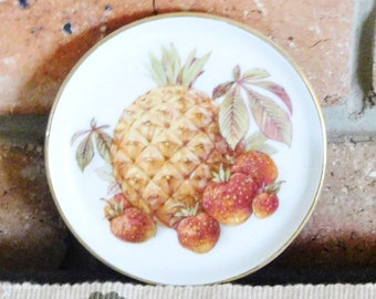 Furstenberg Germany vintage 1970s porcelain coaster, butter dish, pin dish pineapple fruit motif, 24K gilt edging