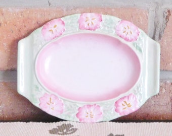 Beswick Ware Made in England 1930s Art Deco small oval pink and green porcelain serving dish