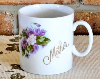 Saji Japanese vintage 1970s ceramic porcelain 'Mother' mug, floral violets theme, Mother's Day gift idea