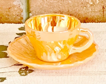 Anchor Hocking Fire King vintage 1960s peach lustre demitasse cup and saucer duo