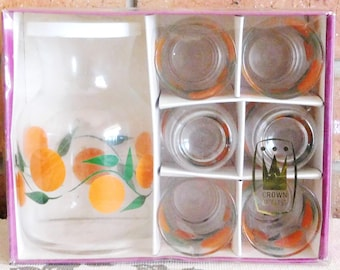 Crown Artglass Australian made vintage juice set, carafe + 6 small glasses, oranges motif, original box, gift idea
