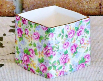 Royal Winton 'English Rose' chintz 1940s square porcelain preserves jar, usable as cream or jam server, no lid