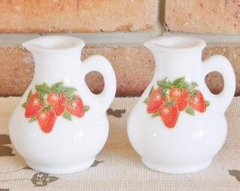 Avon vintage 1970s mini milk glass bottles, jugs, strawberry motif, original labels intact, collectable