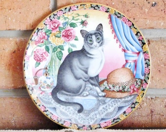Aynsley fine bone china 'Summer Cat' decorative plate, gift idea, collectible