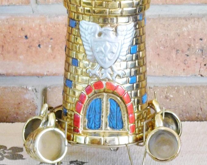 Featured listing image: 1960s vintage Japanese gold lusterware castle decanter set, 6 liqueur cups, 600ml capacity bottle, cork stopper, movie prop, theatre prop