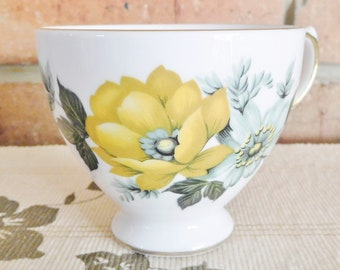 Queen Anne orphan footed fine bone china teacup, yellow floral design, vintage 1960s, high tea