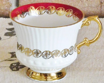 Elizabethan Fine Bone China vintage 1950s Burgundy replacement, orphan tea cup, 24K gilt, pattern 4416, high tea