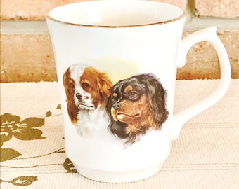 Jason Works Nanrich Pottery vintage 1980s Cavalier King Charles Spaniel fine bone china mug made in England