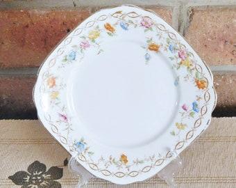 Royal Albert 1920s Art Deco era side plate, bread plate, floral design, high tea