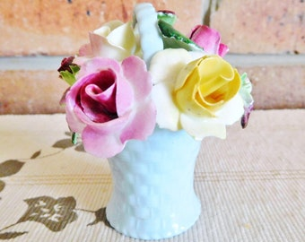 Adderley 1930s fine porcelain floral roses arrangement, blue basket, collectible, gift idea