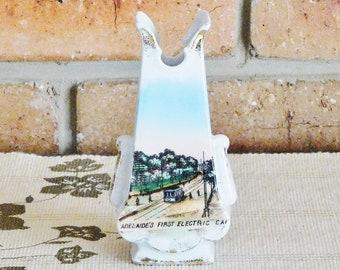 Vintage 1908 commemorative porcelain bud vase 'Adelaide's First Electric Car', rare souvenir