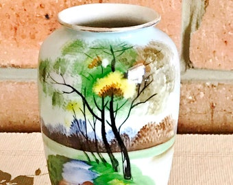 Japanese 1920s hand painted vintage porcelain baluster vase, 15cm tall, landscape scene with trees and stream, gift idea, Made in Japan