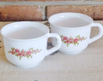 Arcopal France vintage 1970s white coffee, tea cups, red floral design, gift idea