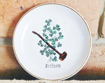 Liverpool Pottery Stoke on Trent porcelain Ireland pin dish, butter dish featuring shamrocks and shillelagh vintage 1960s