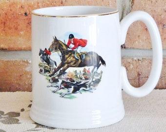 Lord Nelson Pottery 1970s vintage Fox Hunt china tankard, coffee mug, beer mug, Father's Day gift, Christmas gift