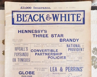 Black and White newspaper issued August 1900, movie prop, collectible, ephemera
