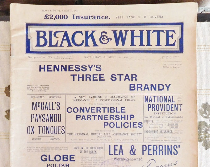 Featured listing image: Black and White newspaper issued August 1900, movie prop, collectible, ephemera