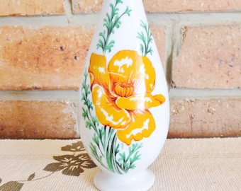 Royal Ann California Poppy fine china bud vase, vintage 1970s, made in USA