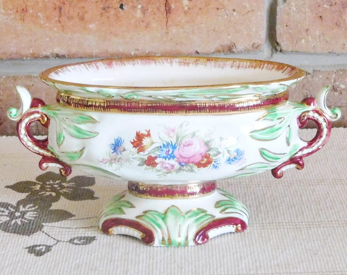 Featured listing image: Wedgwood & Co England 1900 twin handle porcelain footed posy vase, sugar bowl, sweets dish; 24K gold gilding; gift idea, collectable