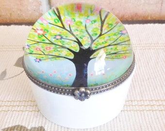 Vintage 1960s porcelain pill or trinket box, domed glass lid, tree in blossom motif, brass snap closure, unbranded