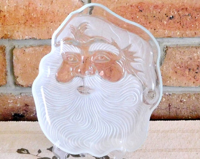 Featured listing image: Santa vintage 1970s frosted glass plate, etched glass, gift idea, Kris Kringle