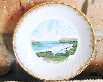 Westminster Australia Victor Harbour SA 1960s vintage porcelain souvenir pin dish, butter dish collectable gift idea