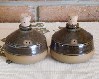 Aiston Park Pottery South Australia vintage 1970s glazed salt and pepper condiments shakers, studio pottery, gift idea