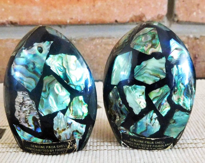 Featured listing image: Fiordland New Zealand paua shell salt and pepper condiments shakers, vintage 1970s, housewarming gift