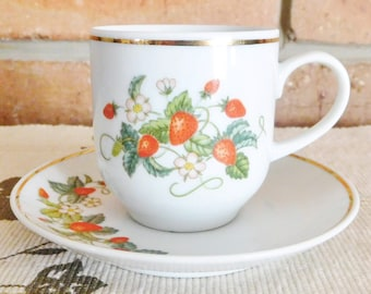 Avon Demi Cup fine porcelain demitasse espresso cup and saucer, vintage 1970s, made in Brazil