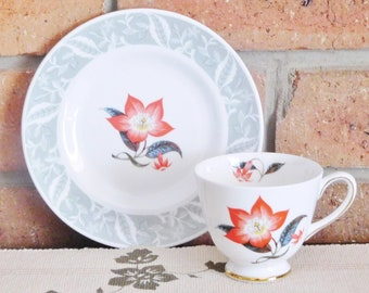 Tuscan Fine English Bone China replacement teacup and side plate, Poinsettia, high tea, 1950s