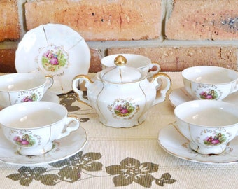 Japanese porcelain lusterware 5 demitasse cups, 6 saucers, sugar bowl; transfer printed; courting couple; crinoline; high tea; vintage 1950s