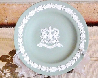 Wedgwood sage green Jasperware City of London collectable small plate, 1980s, limited edition