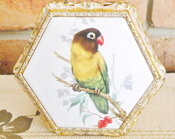 Featured listing image: Japanese small hexagonal metallic trinket jewelry box, porcelain lid with Sun Conure parrot motif, faux red velvet lining, gift idea